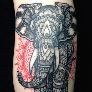Elephant Dotted Tattoo