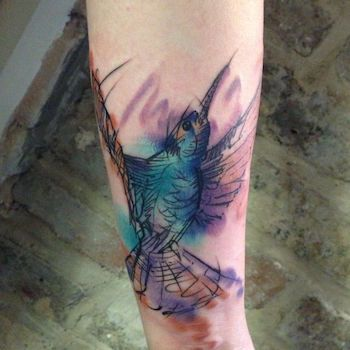 Watercolour Bird Tattoo