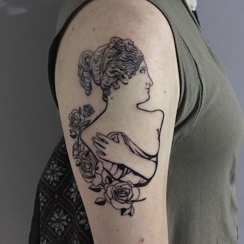 simple woman tattoo