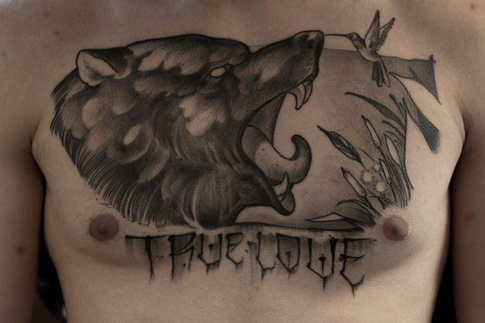 Neo Traditional Wolf Tattoo