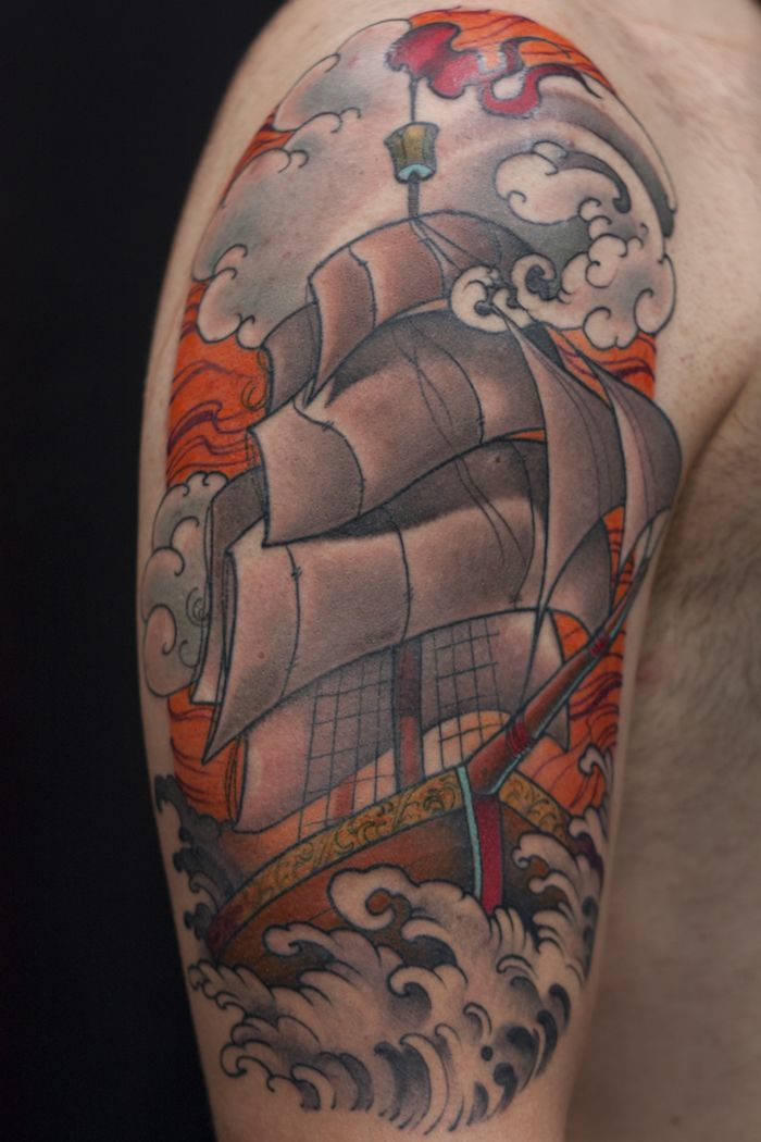 Ship Traditional Tattoo