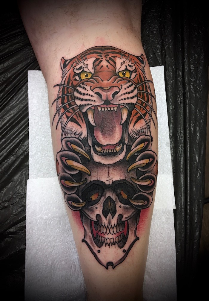A Skull and Tiger Neo-Traditional Tattoo
